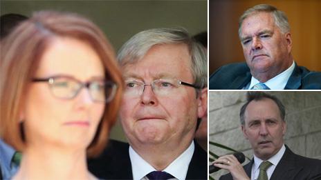 جولیا گیلارد و کوین راد، دو رقیب در حزب کارگر استرالیا (چپ). کیم بیزلی (بالا راست) و پل کیتینگ (پایین راست)