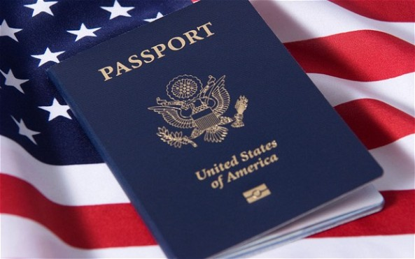 american passport with flag